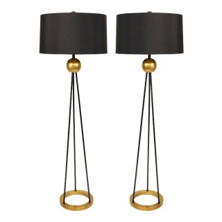 Contemporary Black and Gold Metal Floor Lamps For Sale