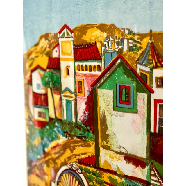 Mid 20th Century Impressionist Retro Framed Print of a Colonial Town For Sale - Image 5 of 11