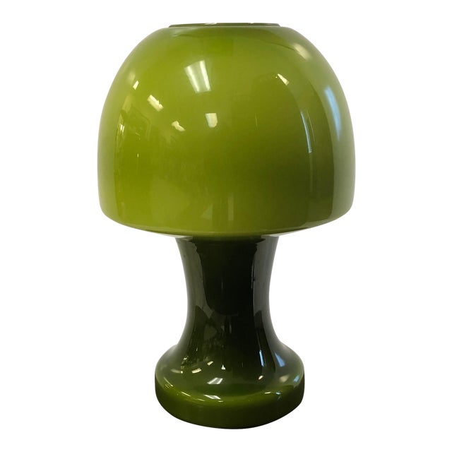 Italian Murano Green Glass Mushroom Lamp For Sale