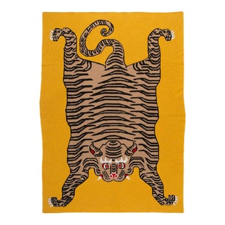 Tiger Cashmere Blanket, Mustard, King For Sale