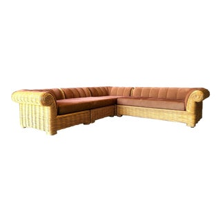 Rattan 4 Piece Modular Sofa For Sale