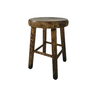 Chunky Wooden Hand Carved Stool For Sale