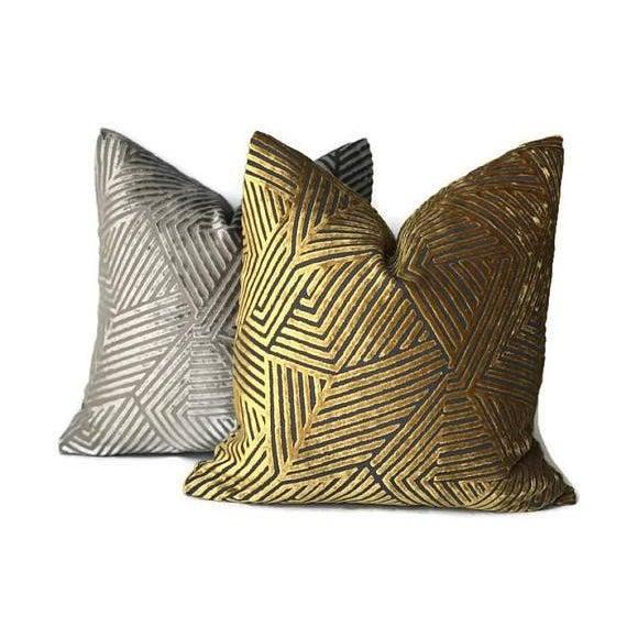 Golden Maze Velvet Pillow Cover For Sale - Image 4 of 5