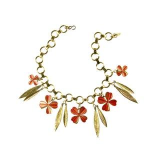 1960/70s Vintage Ysl Four Leaf Clover Enamel Bib Necklace For Sale