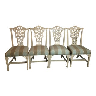 Chippendale Chinese Stripe Silk Upholstered Dining Chairs - Set of 4 For Sale