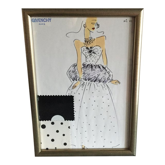 Framed Givenchy Croquis of a Polka Dot Gown - Image 1 of 4