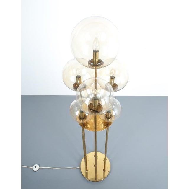 Glashütte Limburg Brass Glass Floor Lamp, Germany 1960 For Sale - Image 6 of 10