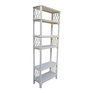1960s Hollywood Regency Ficks Reed White Shell Painted Etagere For Sale