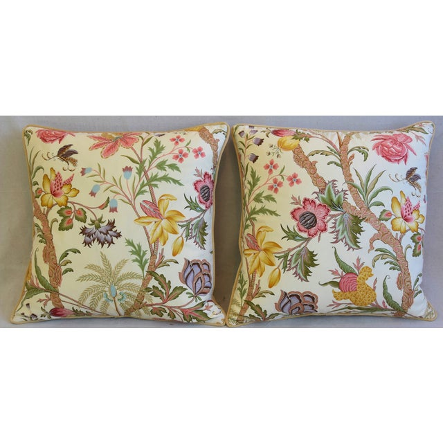 Pair of large custom-tailored pillows in vintage Cowtan & Tout Arabella cotton fabric depicting a highly detailed floral...