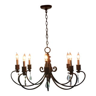 Custom Wrought Iron Chandelier With Crystal Drops For Sale