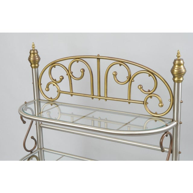 Vintage Small French Style Bakers Rack Scrolling Steel & Brass Glass ...