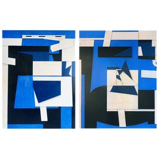 Original Abstract Diptych Paintings on Canvas by Cecil Touchon - a Pair For Sale