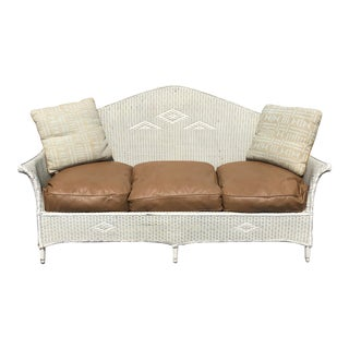 Vintage Heywood Wakefield Wicker Settee with Pillows For Sale