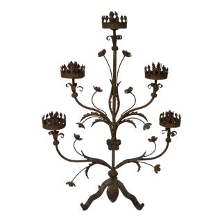 19th Century Antique Tole Five Arm Candelabra For Sale