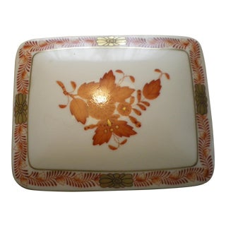 Herend Hungary Rust Chinese Bouquet Trinket Box For Sale