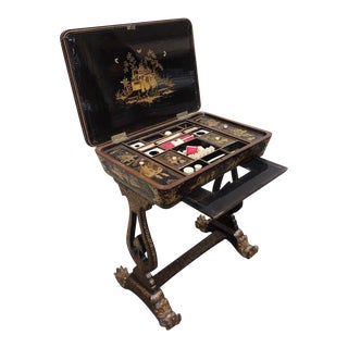 Chinese 1830s Lacquered Sewing Table For Sale