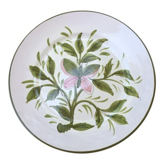Italian Hand Painted Butterfly Botanical Platter For Sale