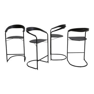 Set of Italian Leather Barstools in the Style of Anton Lorenz for Thonet - set of 4 For Sale