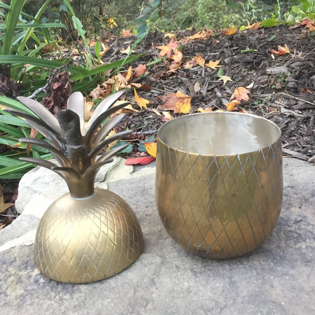 Hollywood Regency Vintage Large Brass Pineapple Box Container For Sale - Image 3 of 10