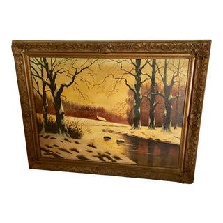1950s Vintage H Pinto Winter Scene Oil on Canvas Painting For Sale