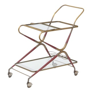 Cesare Lacca Italian Brass Bar Cart For Sale