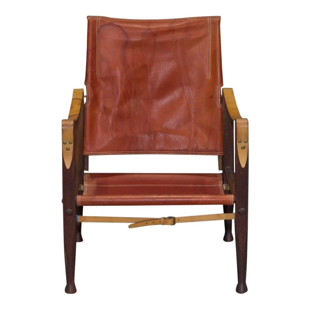 Red Leather Safari Chair by Kaare Klint for Rud Rasmussen For Sale