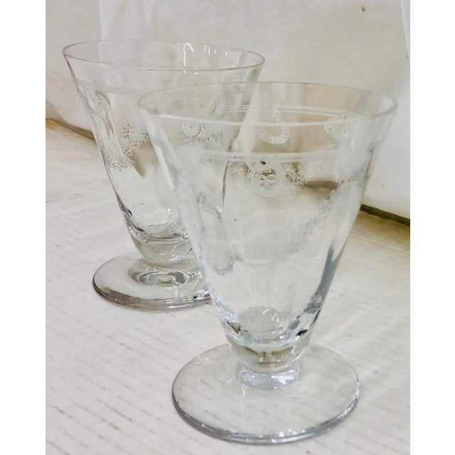 Stunning Antique Pair Etched Glass Goblets. Fabulous Detail in Etching. Nice cone shape as well as weight ~ very...