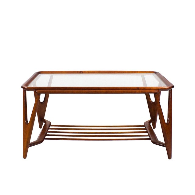 Wood 1945-50 Large Coffee Table, Cherry Wood and Glasses - Italy For Sale - Image 7 of 7