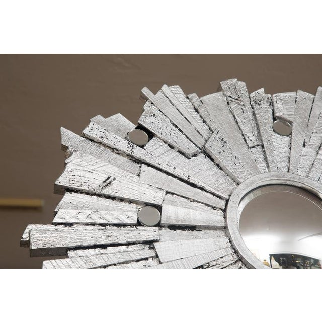 2010s Pair of Contemporary Silvered Sunburst Mirror For Sale - Image 5 of 8