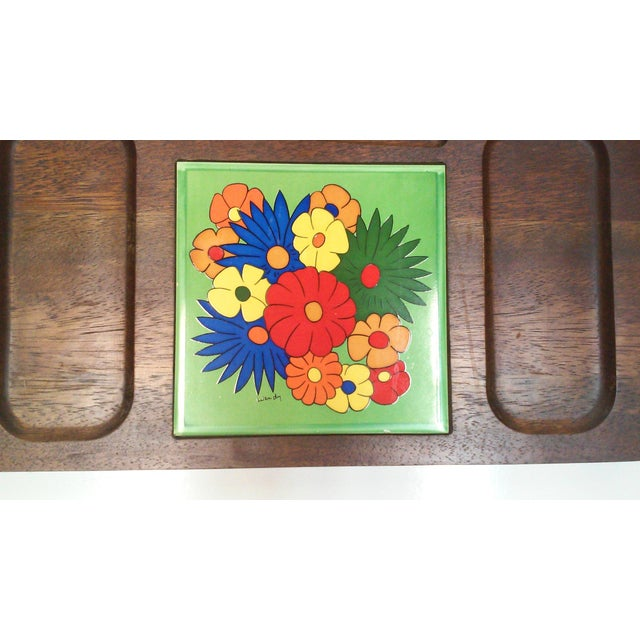 Mid Century Carved Hardwood Tile Tray For Sale - Image 4 of 9