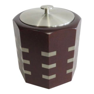 1980s Art Deco Wood and Pewter Ice Bucket For Sale