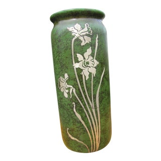 Antique Heintz Vase With Silver Overlay For Sale