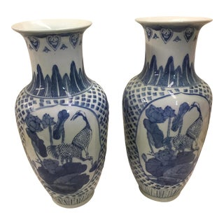 Blue & White Chinese Vases a Pair Cranes For Sale
