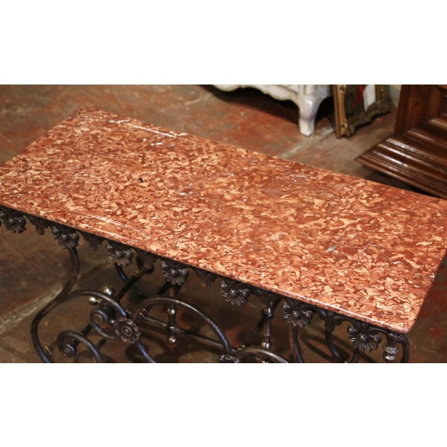 French Polished Iron and Brass Pastry Table With Variegated Red Marble Top For Sale - Image 4 of 11