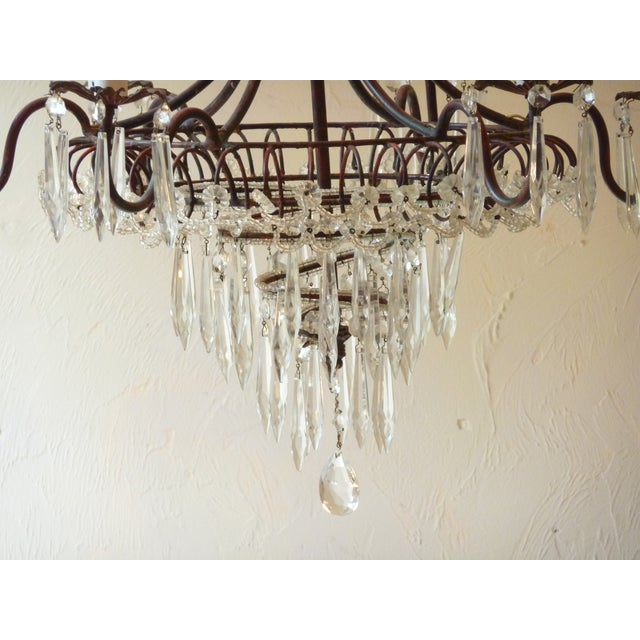 French Tole & Crystal Chandelier For Sale - Image 11 of 11