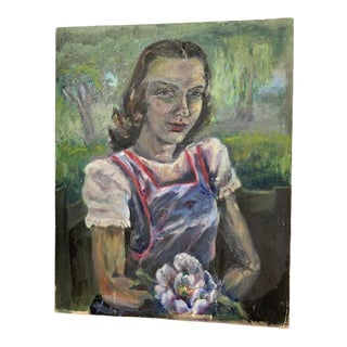 """1940s """"Portrait of a Lady"""" Expressionist Style Oil Painting For Sale"""