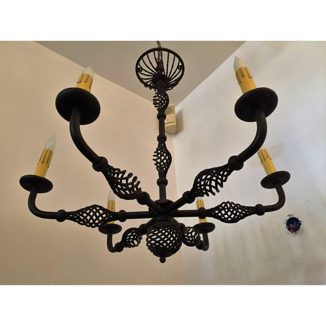 French Moderne 1940s Iron Chandelier For Sale - Image 10 of 11