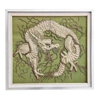 Green Silk Embroidered Dragon Art