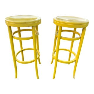 1970s Thonet Tall Yellow Bar Stools - a Pair For Sale