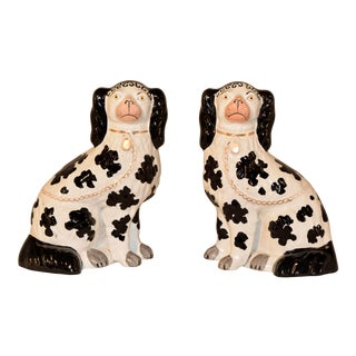 19th C. Pair of Staffordshire Disraeli Spaniels For Sale