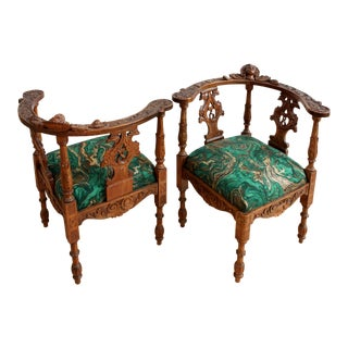 Hand Carved Corner Armchairs - a Pair