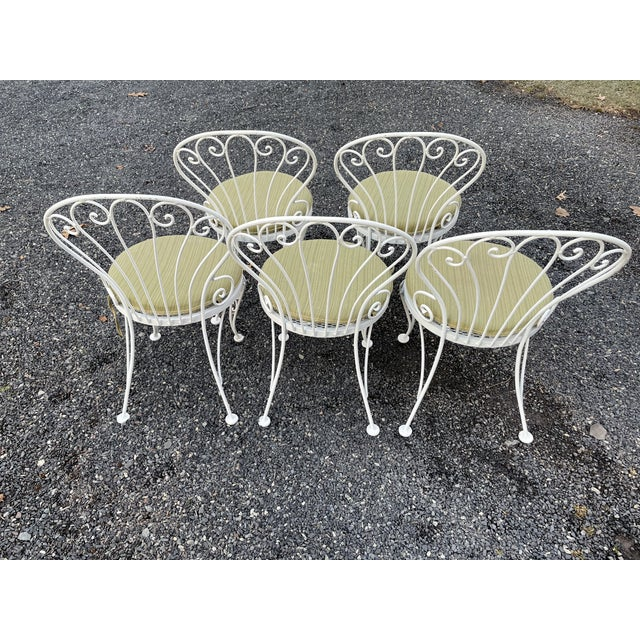 Vintage Woodard Round Dining Table and Chairs -Set of 6 For Sale - Image 9 of 13