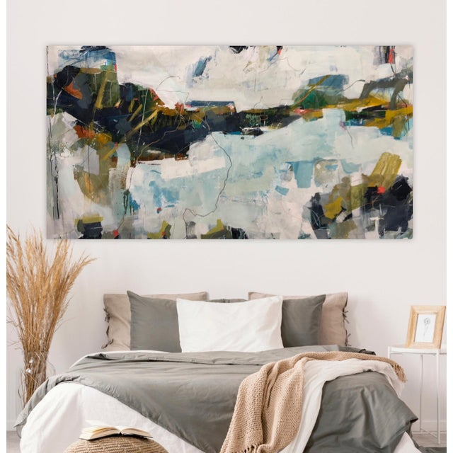 Abstract 50x90 Mixed Media Abstract Seascape Menorca Spain Unstretched Canvas by Donna Weathers For Sale - Image 3 of 3