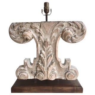 19th Century Carved Wood Fragment, Now as a Lamp