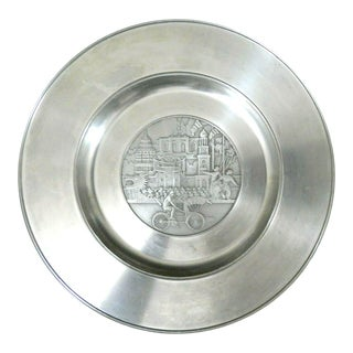 "Vintage Asian Selangor Pewter 10"" Plate For Sale"