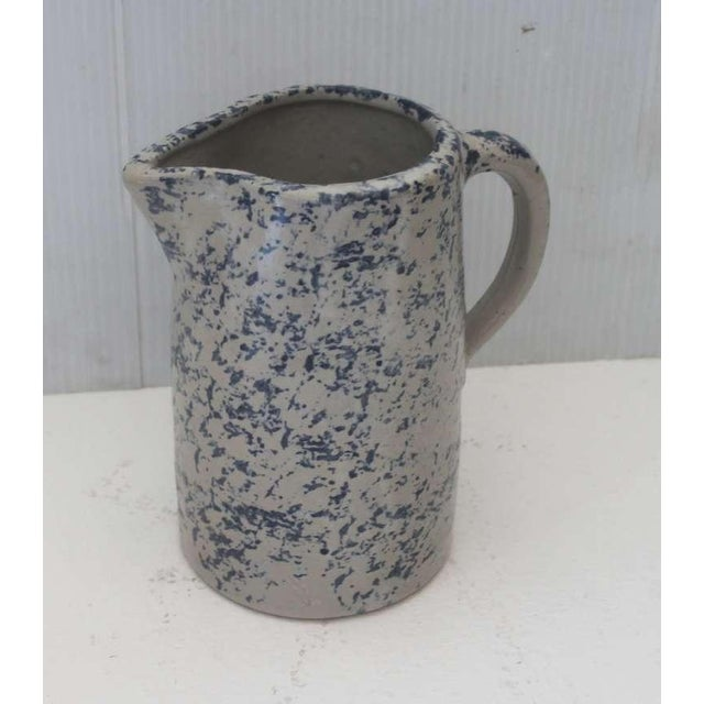 This is a most unusual 19th century speckled sponge ware pitcher is in great condition and works well with other sponge...
