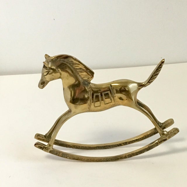 Brass Vintage Brass Rocking Horse Statue For Sale - Image 7 of 7