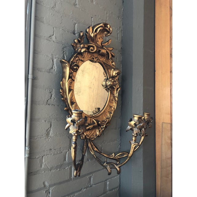Baroque Turn of the Century Italian Baroque Style Girandole 3 Light Wall Mirror For Sale - Image 3 of 10