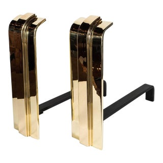 Pair of Custom Art Deco Style Skyscraper Andirons Displayed in Polished Brass For Sale