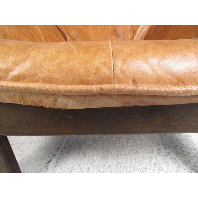 Wood Vintage Leather Lounge Chair in the Style of Percival Lafer For Sale - Image 7 of 11